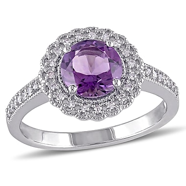 Allegro STP000074, 1/8 CT TW Diamond and Amethyst Halo Ring in Sterling Silver, size 7