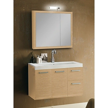Iotti by Nameeks Linear 38'' Single Wall Mounted Bathroom Vanity Set w/ Mirror; Natural Oak