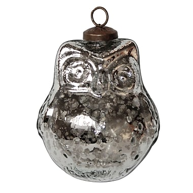 White x White Mercury Glass Owl Ornament (Set of 4)