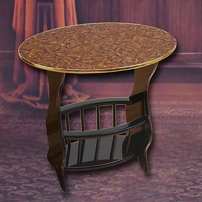 Uniquewise Oval End Table; Cherry Brown