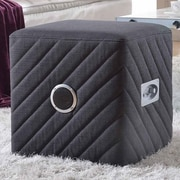 Container Upholstered Ottoman; Gray