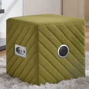 Container Upholstered Ottoman; Green