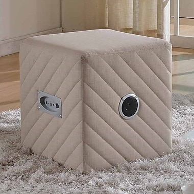 Container Upholstered Ottoman; Beige
