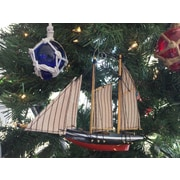 Handcrafted Nautical Decor Wooden America Model Sailboat Decoration Christmas Ornament