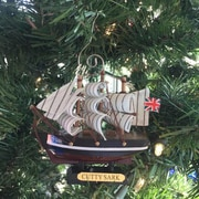 Handcrafted Nautical Decor Wooden Cutty Sark Tall Model Clipper Ship Christmas Ornament