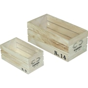 Quickway Imports Crate 2-Piece Solid Wood Planter Box Set
