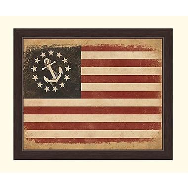 Click Wall Art Anchored In America Flag Framed Graphic Art; 13'' H x 11'' W x 1'' D