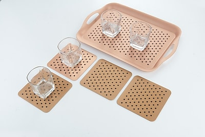 Peterson Housewares Inc. 6 Piece Tray and Coaster Set; Copper