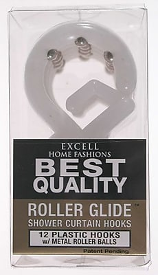 Excell Roller Glide Shower Curtain Hooks; Frosty
