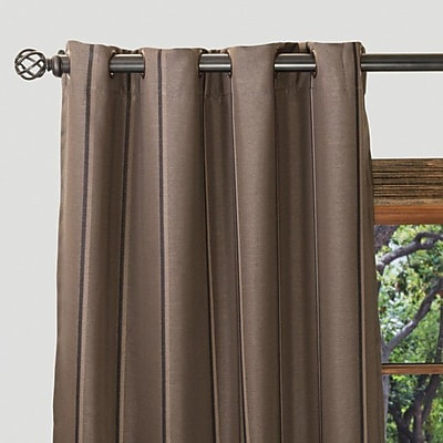Linen Tablecloth Striped Semi-Sheer Grommet Single Curtain Panel; 54'' W x 63'' L