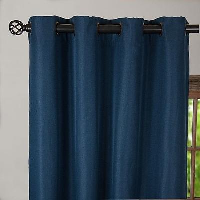 Linen Tablecloth Solid Blackout Grommet Single Curtain Panel; 54'' W x 63'' L