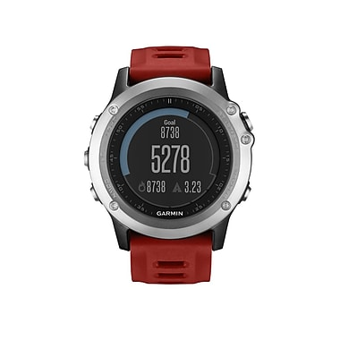 Garmin fenix® 3 Multisport Training GPS Watch, Silver with Red Band