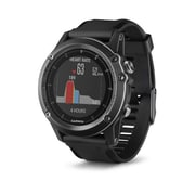 Garmin fenix® 3 HR Multisport Training GPS Watch, Heart Rate Monitor, Grey with Black Silicone Band