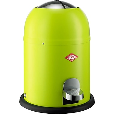 Wesco Single Master 2 Gallon Step-On Steel Trash Can; Lime Green