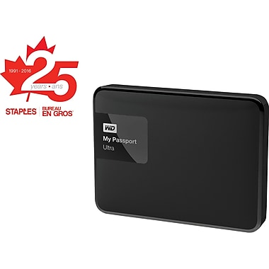 Staples® 25th Anniversary Edition WD My Passport Ultra Portable External Hard Drive, 2TB