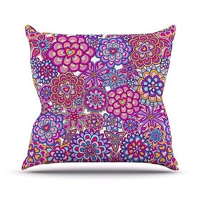 KESS InHouse My Happy Flowers Throw Pillow; 20'' H x 20'' W 4.5'' D