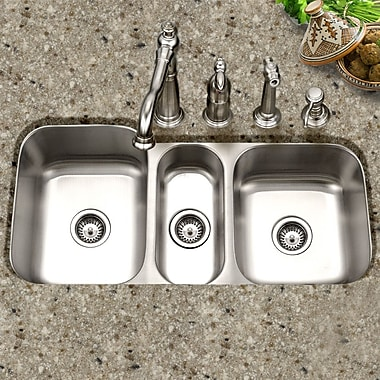 Houzer Medallion Gourmet 39.81'' x 17.94 - 20.19'' Undermount Triple Bowl Kitchen Sink