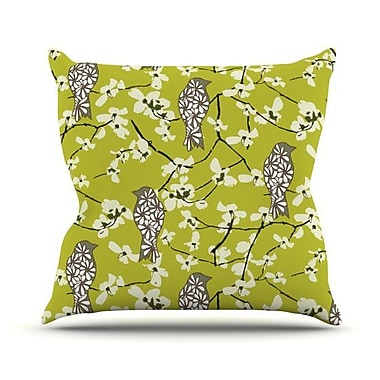 KESS InHouse Blossom Bird Throw Pillow; 18'' H x 18'' W x 4.1'' D