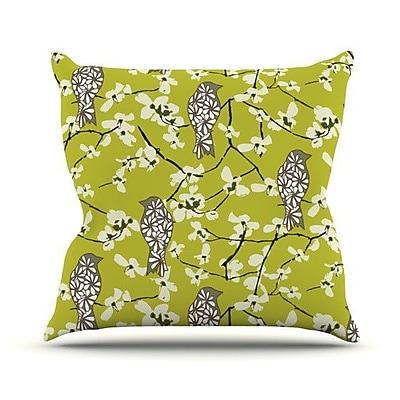 KESS InHouse Blossom Bird Throw Pillow; 20'' H x 20'' W 4.5'' D