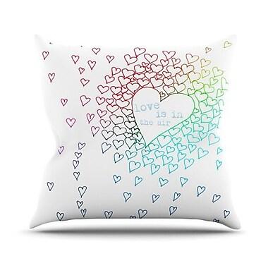 KESS InHouse Rainbow Hearts Throw Pillow; 20'' H x 20'' W