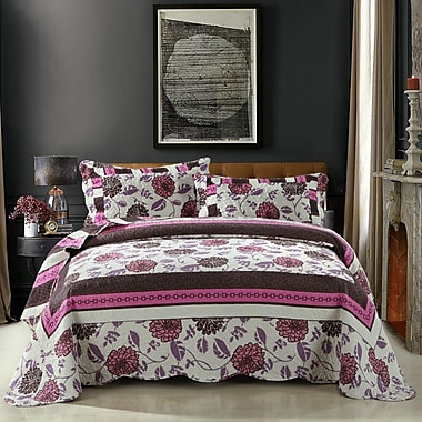 DaDa Bedding Chrysanthemum Vines Reversible Patchwork Quilt Set; Queen
