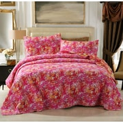 DaDa Bedding Hawaiian Breeze Reversible Patchwork Quilt Set; King