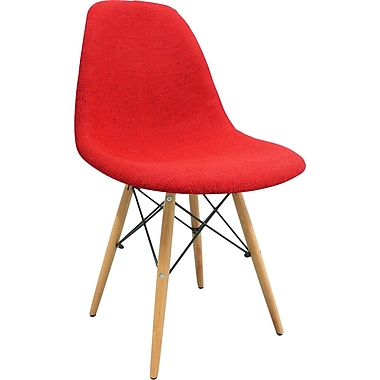eModern Decor Mid Century Modern Woven Fabric Upholstered Side Chair; Red