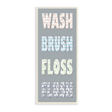 Stupell Industries Wash Brush Floss Flush Bold Gray Typography Wall Plaque