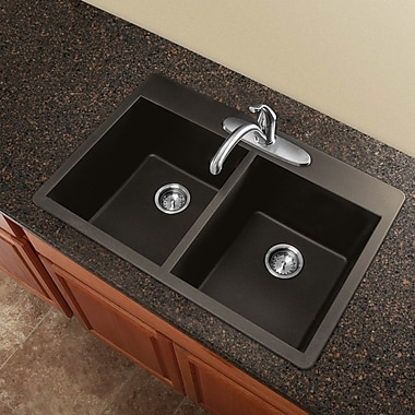 Transolid Radius 33'' x 22'' Granite Double Equal Drop-in Kitchen Sink; Cafe Latte