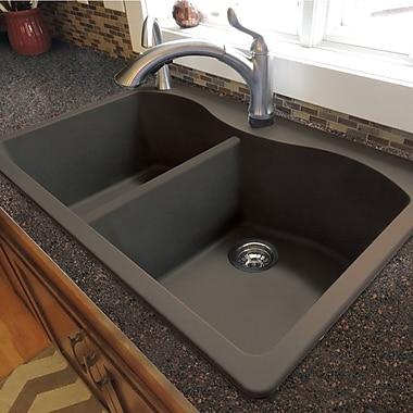 Transolid Aversa 33'' x 22'' Granite Double Equal Drop-in Kitchen Sink; Cafe Latte