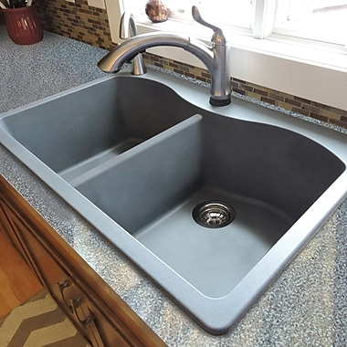 Transolid Aversa 33'' x 22'' Granite Double Equal Drop-in Kitchen Sink; Grey