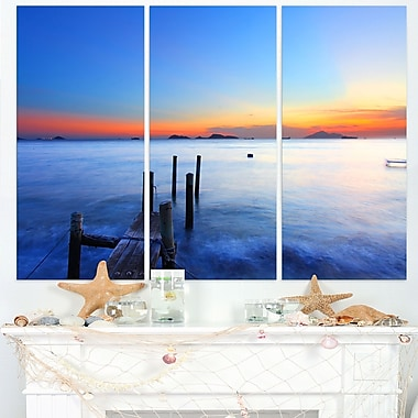 Summer Sea with Wooden Pier Seascape Metal Wall Art, 36x28, 3 Panels, (MT8647-36-28)