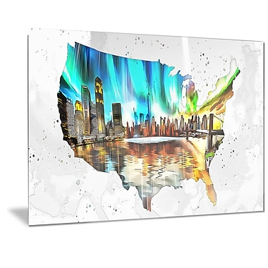 City Life on the Map' Metal Wall Art, 28x12, (MT2832-28-12)