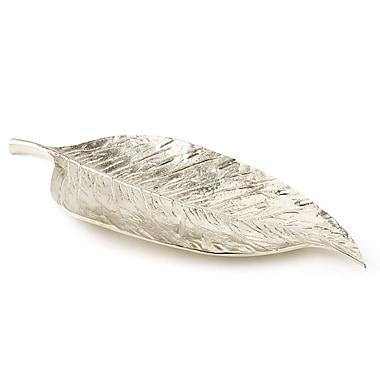 Elegance – Assiette en forme de longue feuille en aluminium plaqué nickel