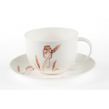 Roy Kirkham Breakfast Cup/Saucer, Country Wildlife Harvest Mouse Set of 2