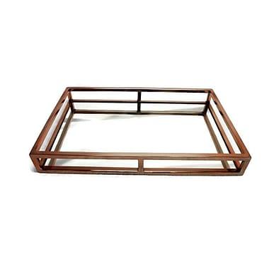 Elegance – Plateau rectangulaire en acier inoxydable miroir, cuivre