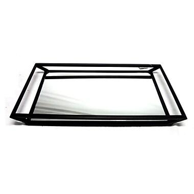 Elegance – Plateau rectangulaire en acier inoxydable noir avec base miroir