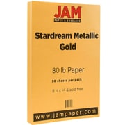 "JAM Paper® Metallic Legal Paper - 8.5"" x 14"" - 80lb Gold Stardream Metallic - 50/pack"