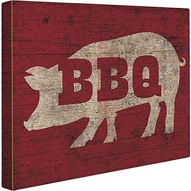 Click Wall Art 'BBQ Pig' Painting Print on Wrapped Canvas; 24'' H x 30'' W x 1.5'' D