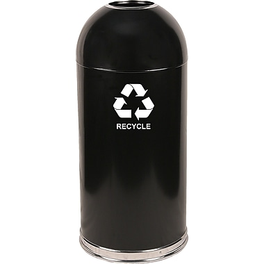 Witt Dome Top 15 Gallon Recycling Bin; Black