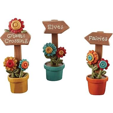 Blossom Bucket 3 Piece Floral Gnome/Elves/Fairies Garden Stake Set