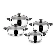 HISR Lisbon 9 Piece Stainless Steel Cookware Set; Black