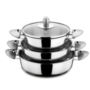 HISR Lisbon 6 Piece Stainless Steel Egg Pan Set; Grey
