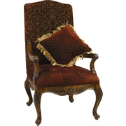 AA Importing Arm Chair w/ Matching Pillow in Medium Brown