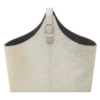 Cole & Grey Wood and Leather Hide Magazine Holder; Gray