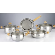 HISR Monaco 9 Piece Stainless Steel Cookware Set; Gold