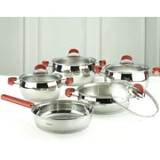 HISR Monaco 9 Piece Stainless Steel Cookware Set; Red