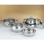HISR Monaco 9 Piece Stainless Steel Cookware Set; Grey