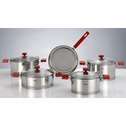 HISR Milan 9 Piece Stainless Steel Cookware Set; Red