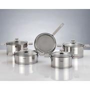 HISR Milan 9 Piece Stainless Steel Cookware Set; Grey